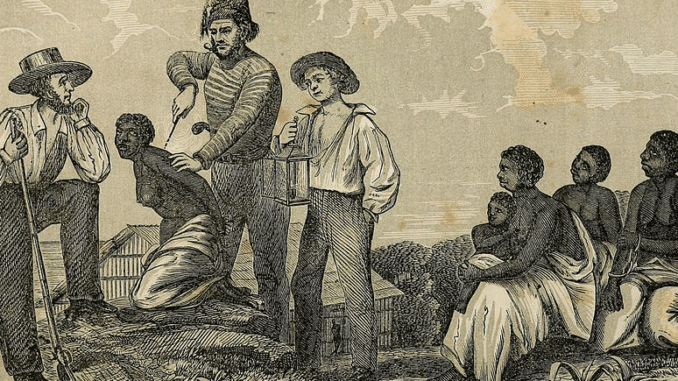 Sklavin wird gebrandmarkt