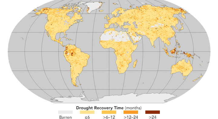 Karte der Erde mit Länge der Erholungs-Zeiten der Wälder nach Trocken-Perioden